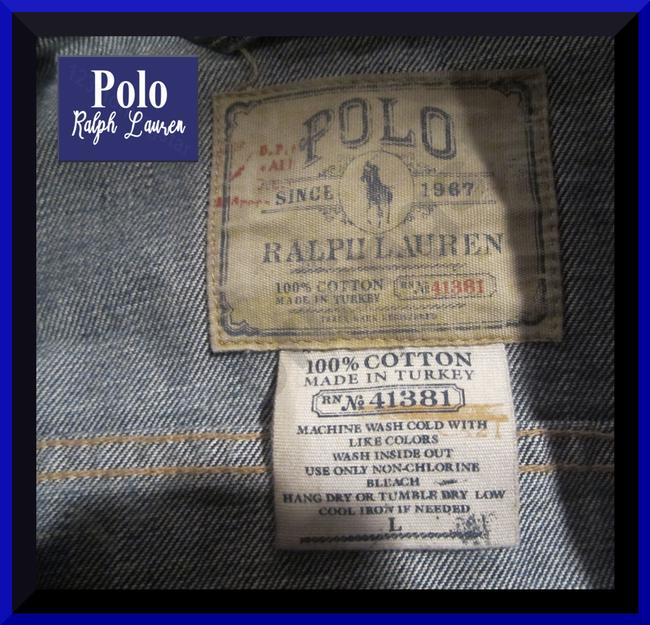 Polo Ralph Lauren Distressed Edges Stitch Design 1967 Shank Buttons Seamed Yokes Adjustable Back Tabs Womens Jean Jacket Image 10