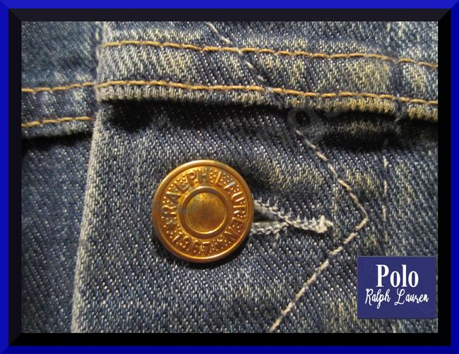 Polo Ralph Lauren Distressed Edges Stitch Design 1967 Shank Buttons Seamed Yokes Adjustable Back Tabs Womens Jean Jacket Image 2