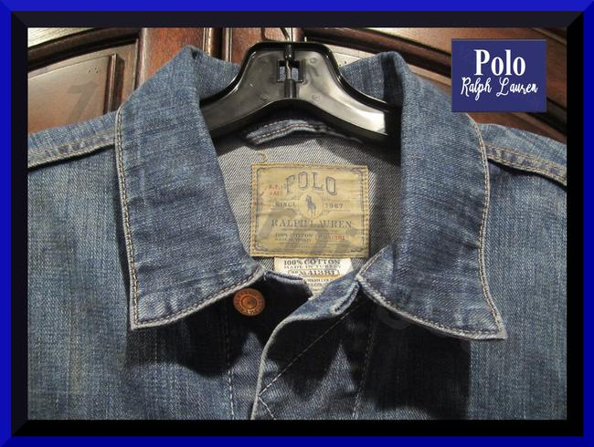 Polo Ralph Lauren Distressed Edges Stitch Design 1967 Shank Buttons Seamed Yokes Adjustable Back Tabs Womens Jean Jacket Image 3