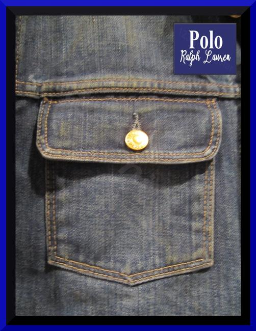 Polo Ralph Lauren Distressed Edges Stitch Design 1967 Shank Buttons Seamed Yokes Adjustable Back Tabs Womens Jean Jacket Image 4