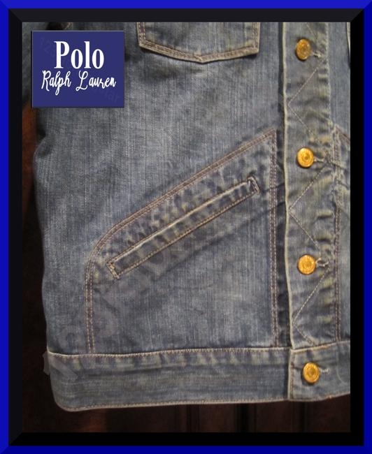 Polo Ralph Lauren Distressed Edges Stitch Design 1967 Shank Buttons Seamed Yokes Adjustable Back Tabs Womens Jean Jacket Image 6