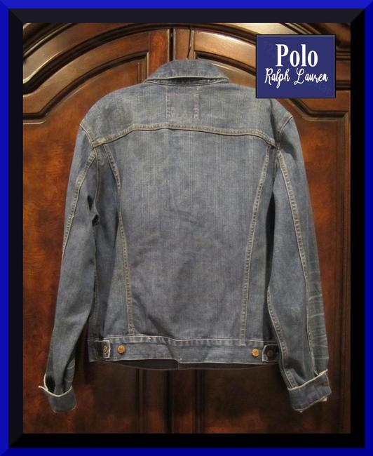 Polo Ralph Lauren Distressed Edges Stitch Design 1967 Shank Buttons Seamed Yokes Adjustable Back Tabs Womens Jean Jacket Image 7