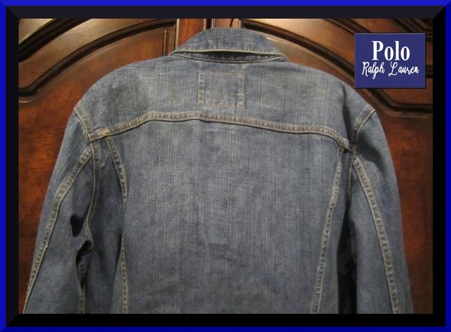 Polo Ralph Lauren Distressed Edges Stitch Design 1967 Shank Buttons Seamed Yokes Adjustable Back Tabs Womens Jean Jacket Image 9