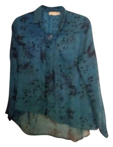 Urban Outfitters Sheer Button Down Shirt Blue