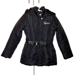 Guess Girl's Stylish Belted Black Puffy Coat Sz6