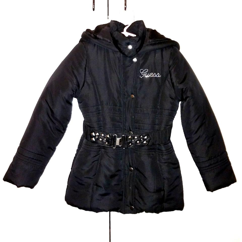 7a4cfc3f66af Guess Black and Silver Girl s Stylish Belted Puffy Coat Sz6 ...