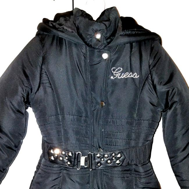 Guess Girl's Stylish Belted Black Puffy Coat Sz6 Image 2