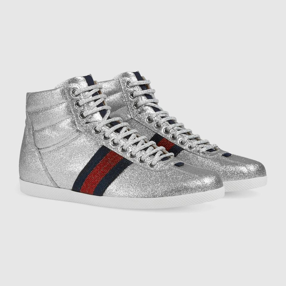 b24d868d4e8 Gucci Glitter Web High Top Women Sneakers Size EU 36.5 (Approx. US ...