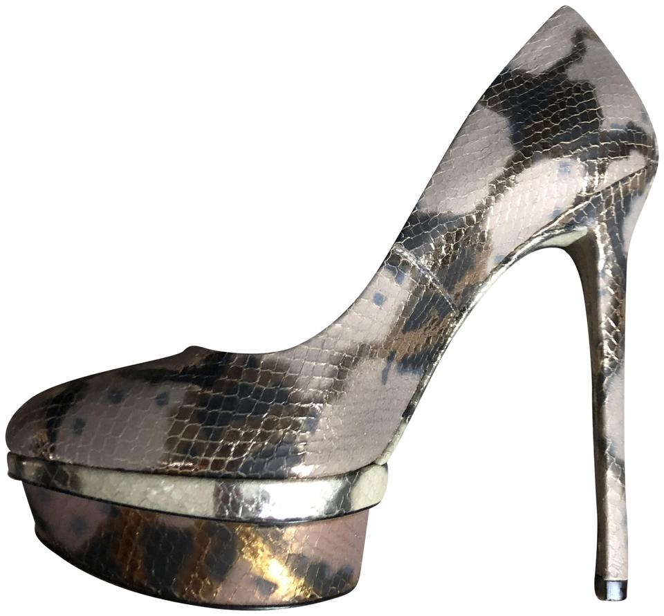 0637378222c B Brian Atwood Multicolored Snake Print Metalic (Gold/Brown) Snakeskin  Pumps Size US 7.5 Regular (M, B)
