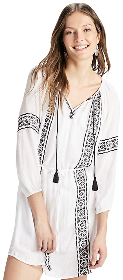 8a95ff38d9aa8 Lucky Brand short dress white Embroidered Peasant Bohemian Boho Tassels on  Tradesy Image 0 ...