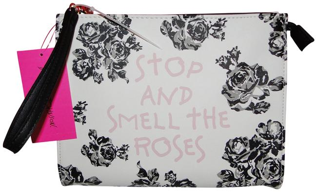 Item - Cream Multi Stop and Smell The Roses Wristlet Travel Cosmetic Bag