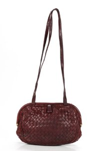 Bottega Veneta Rare Hinged Top Mint Vintage Hard Boxy Oval Intrecciato Style Satchel in woven ox blood burgundy leather