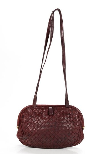 Bottega Veneta Rare Hinged Top Mint Vintage Hard Boxy Oval Intrecciato Style Satchel in woven ox blood burgundy leather Image 0