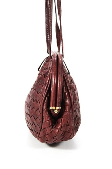 Bottega Veneta Rare Hinged Top Mint Vintage Hard Boxy Oval Intrecciato Style Satchel in woven ox blood burgundy leather Image 1