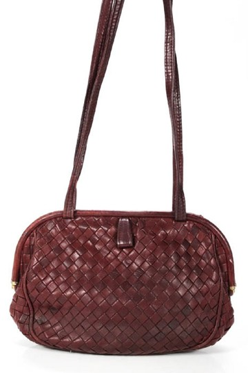 Bottega Veneta Rare Hinged Top Mint Vintage Hard Boxy Oval Intrecciato Style Satchel in woven ox blood burgundy leather Image 7