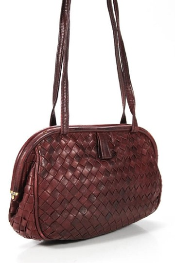 Bottega Veneta Rare Hinged Top Mint Vintage Hard Boxy Oval Intrecciato Style Satchel in woven ox blood burgundy leather Image 9