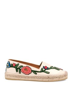 Gucci Pilar Loafers Espadrilles Floral Loafers Size 37.5 White Flats