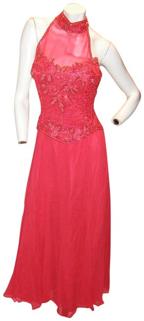 Item - Red W Drop Waist W/Embellish Sheer Halter Long Night Out Dress Size 14 (L)