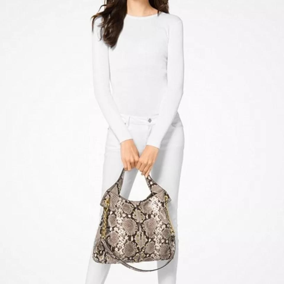 a230b8c1e7 Michael Kors Astor Studded Python Embossed Tote Natural Leather ...