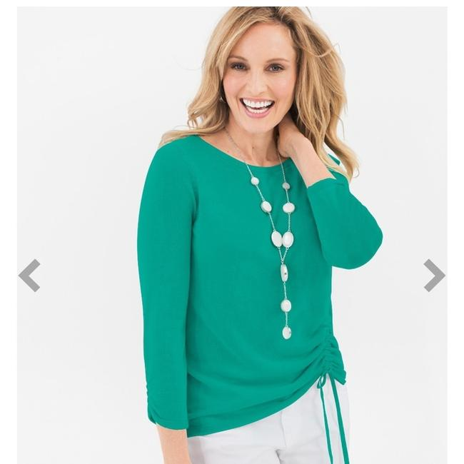 Preload https://img-static.tradesy.com/item/23165928/chico-s-green-ruched-0p-for-sweaterpullover-size-petite-6-s-0-0-650-650.jpg