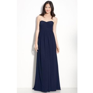 Jenny Yoo Navy Chiffon Aidan Formal Bridesmaid/Mob Dress Size 6 (S)
