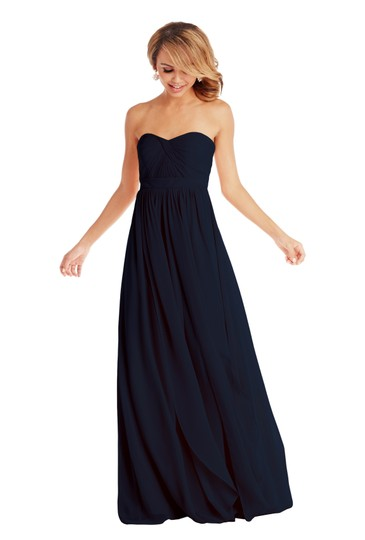 Jenny Yoo Navy Chiffon Aidan Formal Bridesmaid/Mob Dress Size 6 (S) Image 3