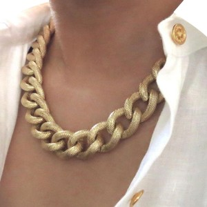 Elliot Francis Gold Textured Chunky Chain Necklace