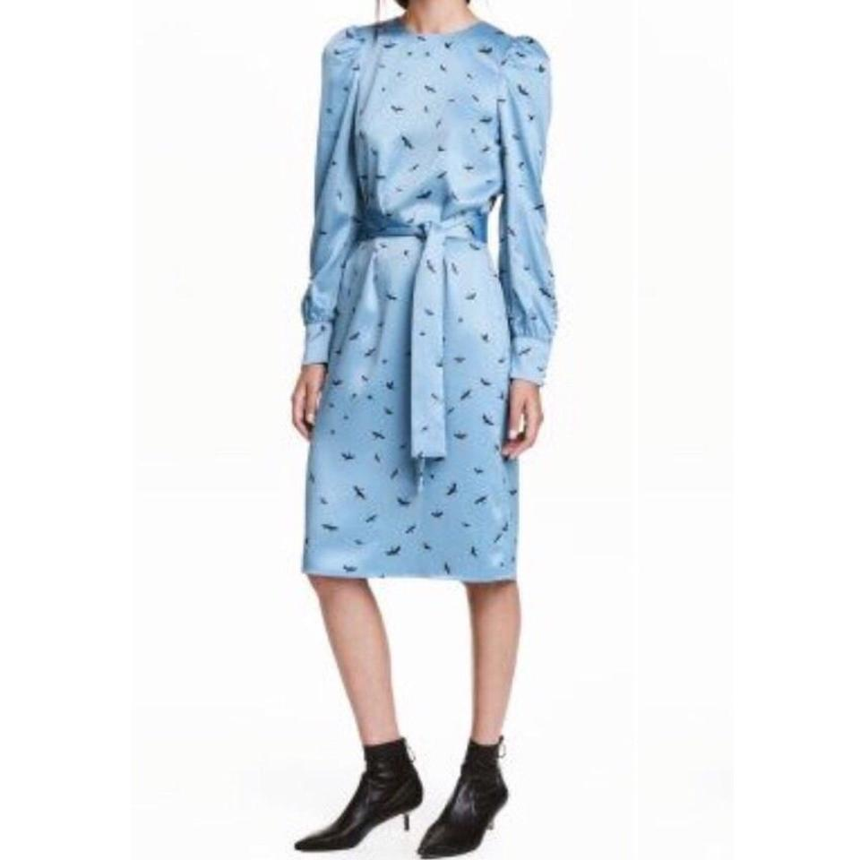 e8344595505b H&M Blue Long Sleeve Crane Print Mid-length Work/Office Dress Size 14 (L) -  Tradesy
