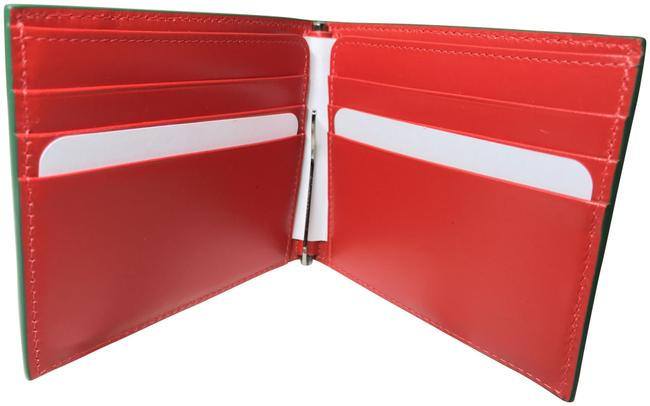Item - Green and Red Kaspero Clip Calf Leather Wallet