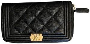 Chanel Chanel Black Gold Boy Zip Around In Caviar Leather Wallet