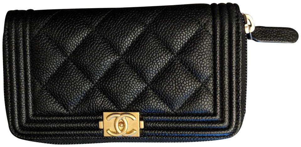 9b1a5daf5e0c Chanel Chanel Black Gold Boy Zip Around In Caviar Leather Wallet Image 0 ...