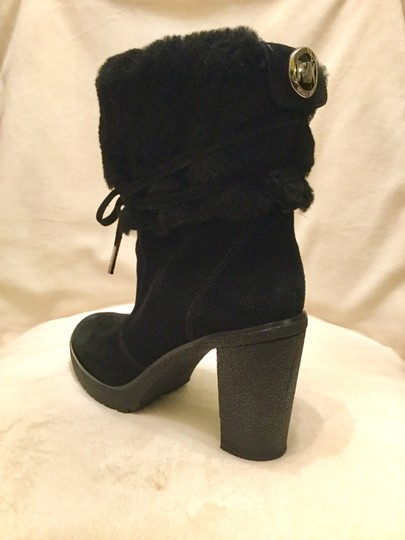 Michael Kors Genuine Leather Suede Sheep Shearling Black Boots Image 1