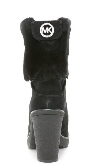 Michael Kors Genuine Leather Suede Sheep Shearling Black Boots Image 10