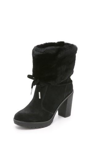 Michael Kors Genuine Leather Suede Sheep Shearling Black Boots Image 11