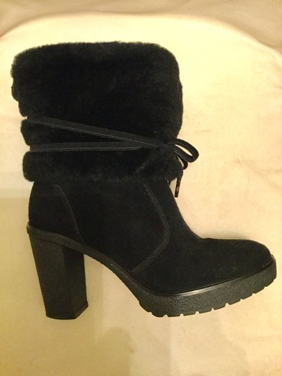 Michael Kors Genuine Leather Suede Sheep Shearling Black Boots Image 7