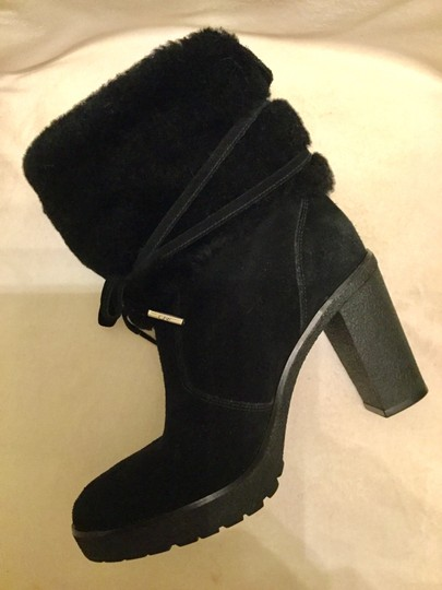 Michael Kors Genuine Leather Suede Sheep Shearling Black Boots Image 8