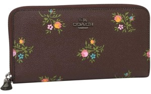 Coach Coach Accordion Zip Wallet With Cross Stitch Floral Print 22877