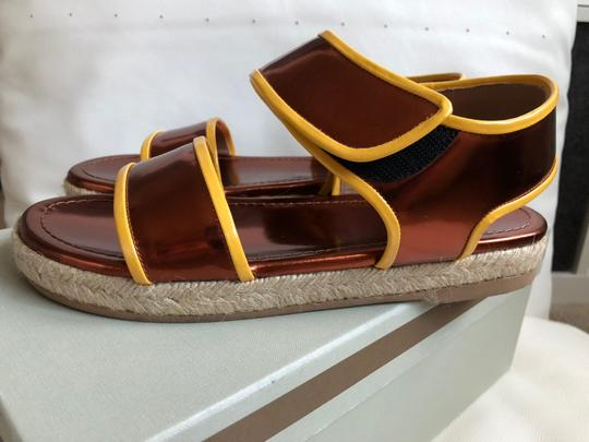 Marni Leather Flat Classic Gold brown/Yellow Sandals Image 3