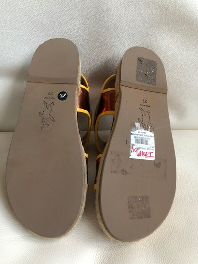 Marni Leather Flat Classic Gold brown/Yellow Sandals Image 4