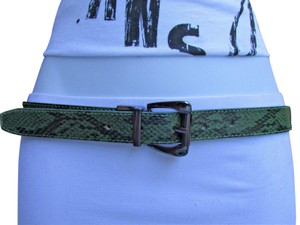 Other Faux Leather Thin Green Snake Skin Print Metal Buckles Women Belt