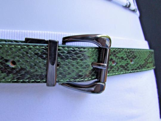 Other Faux Leather Thin Green Snake Skin Print Metal Buckles Women Belt Image 1