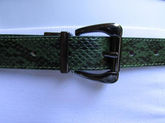 Other Faux Leather Thin Green Snake Skin Print Metal Buckles Women Belt Image 10