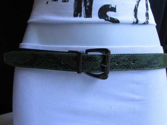 Other Faux Leather Thin Green Snake Skin Print Metal Buckles Women Belt Image 11