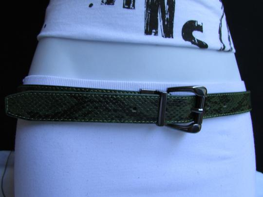 Other Faux Leather Thin Green Snake Skin Print Metal Buckles Women Belt Image 2