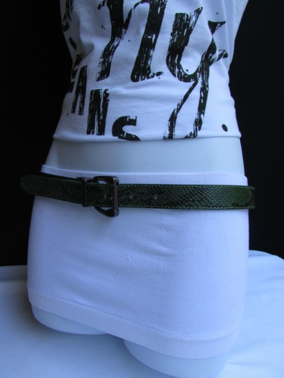 Other Faux Leather Thin Green Snake Skin Print Metal Buckles Women Belt Image 3