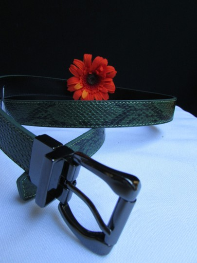 Other Faux Leather Thin Green Snake Skin Print Metal Buckles Women Belt Image 4