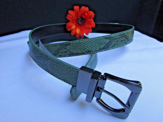Other Faux Leather Thin Green Snake Skin Print Metal Buckles Women Belt Image 5
