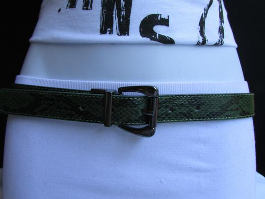 Other Faux Leather Thin Green Snake Skin Print Metal Buckles Women Belt Image 7