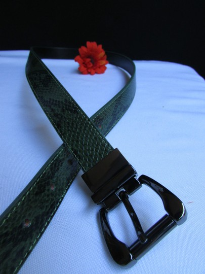Other Faux Leather Thin Green Snake Skin Print Metal Buckles Women Belt Image 9
