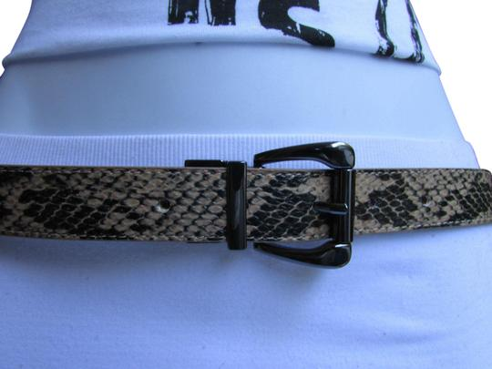 Other Faux Leather Thin Beige Snake Skin Print Metal Buckles Women Belt Image 0